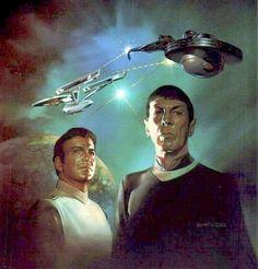 Cover art by Boris Vallejo for the 'Star Trek' novel, 'Black Fire' by Sonni Cooper.