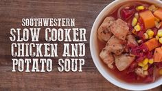 Start this slow-cooker Southwestern Chicken soup in the morning and come home to a delicious family meal ready to eat! Tap for the full recipe.