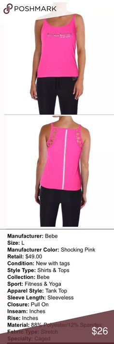 Bebe women's large athletic tank NWT pink top This is a women's large athletic Bebe tank BRAND NEW with tags.  Retails for $50.  Buy with confidence I am a Posh Ambassador, top rated seller, mentor and fast shipper.  Don't forget to bundle and save.  Thank you. bebe Tops Tank Tops