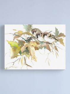 """""""Sparrows and Fall Tree"""" Canvas Print by surenart 