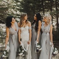Grey bridesmaid dresses #wedding #weddinginspiration #boho #bohemianwedding