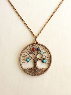 Personalized Family-tree necklace Birthstones pendant