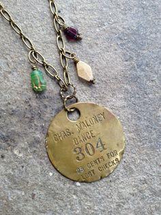 Vintage 304 Dance Hall Key Tag Necklace by SQUAREPEGMEG on Etsy, $32.00
