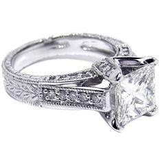 Engagement & The City | Princess Diamond Vintage Pave Cathedral Engagement...