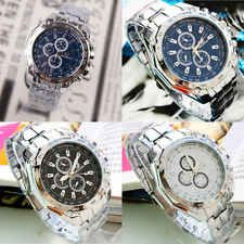 Fashion Stainless Steel Band Luxury Sport Analog Quartz Clock Men's Wrist Watch