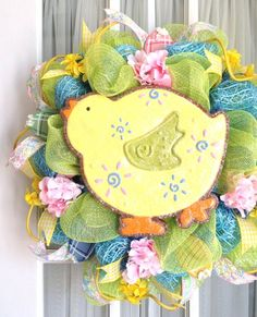 Deco Mesh Easter Spring Chick Cookie Wreath by Southern Charm Wreaths.