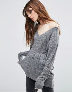 ASOS Sweater with Off Shoulder and Ladder Detail