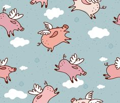 When Pigs Fly New! fabric by cynthiafrenette on Spoonflower - custom fabric