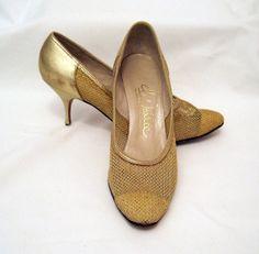 60s Shoes Vintage Gold Fishnet Stiletto Heel Pumps by voguevintage, $20.00