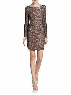 Beaded Lace V Back Dress