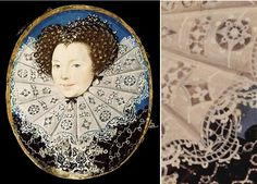 Nicholas Hilliard c.1590-95. The close-up detail shows very clearly how reticella is constructed. A fine linen ground is cut away leaving some structural threads; these are then worked and embroidered to form lace infills. The edging lace is an early example of the technique known as punto in aria. Linen thread has the property of growing stronger when wet so is perfect for boil-starching.