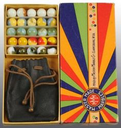 This is a box set of machine made marbles manufactured by the Master Made Marble Company that was in Clarksburg, West Virginia. When my Dad was young, he won a set of marbles at the Championship Marble Competition here. Vintage Games, Vintage Toys, Marbles Images, Marble Box, Marble Games, Vintage Packaging, Glass Marbles, Little Doll, Retro Toys