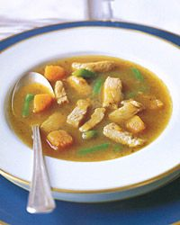 Turkey and Sweet-Potato Soup Recipe on Food & Wine - our new favorite fall soup. Incredible.