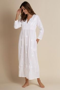 Gianella Gown - Embroidered Nightgown, Long Nightgown | Soft Surroundings