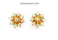 22K Gold Diamond Earrings - DER880 - Indian Jewelry from Totaram Jewelers