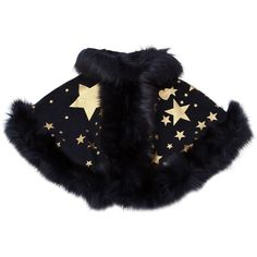 Bandits Girl Kids-girls Hooded Stars Print Felt & Faux Fur Cape ($250) ❤ liked on Polyvore featuring navy