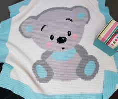 Crochet Pattern | Baby Blanket / Afghan - Cuddles Bear - Full Row-by-Row Instructions + Chart