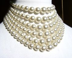 Six Strand Vintage Pearl Statement Choker, Jackie O Style