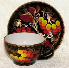 "Interesting USSR/Russian HAND PAINTED CUP & SAUCER ""Rowanberry"" SIGNED #CupsSaucers"