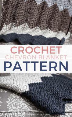 Simple Crochet Chevron Blanket Pattern - Free Crochet Throw Pattern #crochetchevronpatternfree #crochetchevronpatterneasy #rescuedpawdesigns #crochetpatternfree #crochetblanket