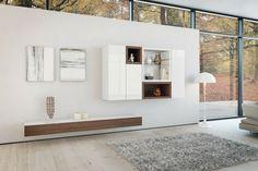 Wohnzimmermöbel modern ~ Moderne wohnzimmermöbel naturholz und hochglanz elementen in