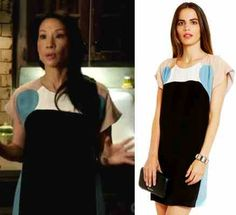Elementary season 2, episode 9: Joan Watson's (Lucy Liu) color block Rebecca Minkoff Otis Dress #elementary #getthelook #joanwatson