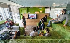 Dublin - This nature-themed space features grassy grandstand seating, dewdrops on the ceiling and woodsy accents. Google Office, Office Lounge, Open Office, Small Office, Office Meeting, Office Suite, Meeting Rooms, Office Interior Design, Office Interiors
