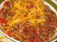 Hamburger-Rice Skillet.. Man was this good. Bet it would be good with the flavored diced tomatoes as well. Made 2-5-13