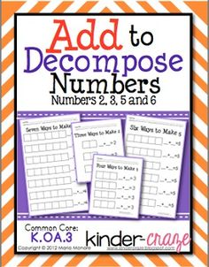 Hands-on for decomposing numbers! $1.50
