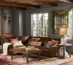couch & tables for living room Turner Leather 3-Piece Square Arm Sectional with Corner #potterybarn