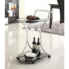 Chrome Metal with Black Tempered Glass Bar/ Wine/ Tea Serving Cart | Overstock.com Shopping - The Best Deals on Bars