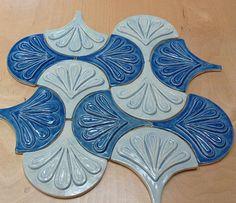 Moroccan Fish Scale tile, 1 square foot 12 tile sky blue and deep blue, kitchen backsplash tile,or bath Mermaid Tile, Fish Scale Tile, Craftsman Tile, Dragon Scale, Fish Scales, Blue Tiles, Handmade Tiles, Moroccan Decor, Tile Patterns