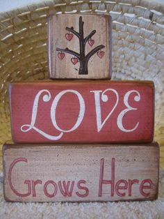 Valentine Love Grows Here Primitive Shelf Stacker Blocks 3 Pieces
