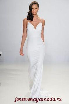 кружевное свадебное платье без рукавов в стиле минимализм