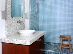 I love blue in the bathroom. It's for everyone.  BATH HOUSE POWDER ROOM