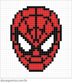 Red, white and black pearls are needed for Spiderman – weihnachten – Hama Beads Cross Stitching, Cross Stitch Embroidery, Cross Stitch Patterns, Perler Bead Art, Perler Beads, Pixel Art Super Heros, Pixel Art Animals, Spiderman Face, Spiderman Pixel Art