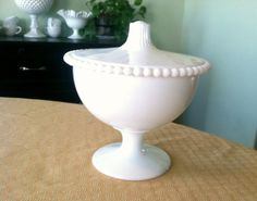Vintage Milk Glass Candy Dish with Lid...I have a small collection of Milk Glass...would love to have a covered candy dish!