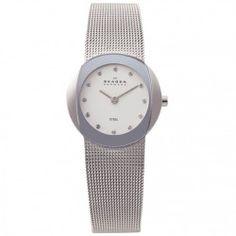 Skagen Ladies Silver Dial Mesh Watch 589SSS