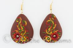 Custom Order, #jewelry, #polymerclay, #earrings, #polymerclayearrings, #polymerclayflowers, #polymerclayembroidery, #polymerappliqued, #autumnjewelry, #bohojewelry Polymer Clay Flower Embroidery Earrings