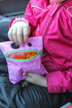"""""""Snack Monster"""" reusable snack bag tutorial. This is a great project for beginning sewers!"""
