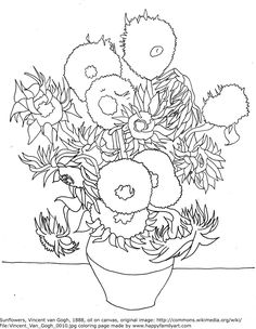 vincent van gogh sunflowers coloring page sketch coloring page - Van Gogh Coloring Page
