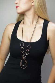 Georgia necklace // bronze and leather long statement necklace // shop.meganauman.com