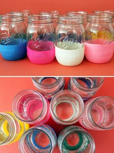 Balloon-Dipped Mason Jars.  These would be great for a party.  You could use a Sharpie to write names on the balloons, too.  Just remove them when the party is over!