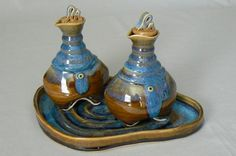 Tania Rustage  Handmade Ceramic Olive Oil / Vinegar Set