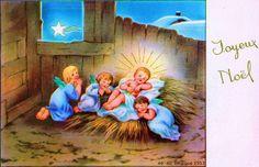 Joyeux Noël - Dans une étable trois anges près de l'Enfant Jésus qui dort, par la fenêtre l'Étoile de Noël - 1953 (from http://mercipourlacarte.com/picture?/1356/>)