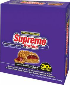Supreme Protein Carb Conscious Bar - 12 Large Bars - Peanut Butter Crunch.