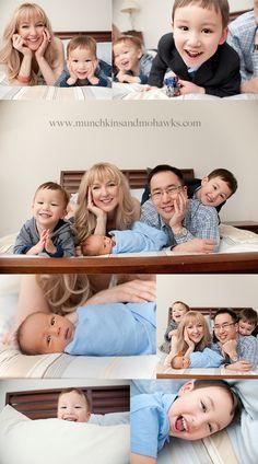 family photo with newborn - makes me wish we had a headboard!