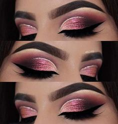 Makeup Tips To assist Hide A Blemish – Eye Makeup Look Glitter Eye Makeup, Pink Makeup, Glam Makeup, Makeup Inspo, Eyeshadow Makeup, Eyeshadows, Metallic Eyeshadow, Glitter Gel, Pink Glitter