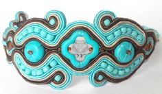 handmade soutache bracelet, turqouise and brown