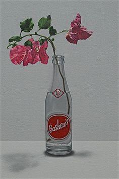 """Bashew's"" - www.alexemsley.com Flora, Drinks, Bottle, Painting, Art, Art Background, Beverages, Flask, Painting Art"